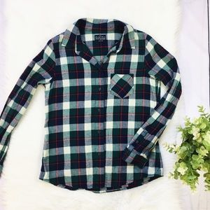 Madewell, B&B Green Red Cream Button Flannel